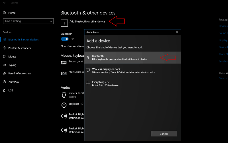 Screenshot of Windows 10 add a Bluetooth device