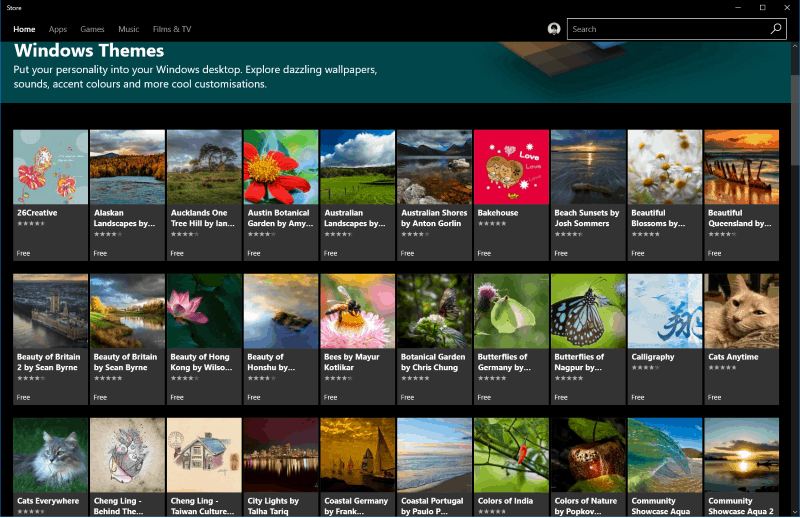 Screenshot of themes in the Windows Store