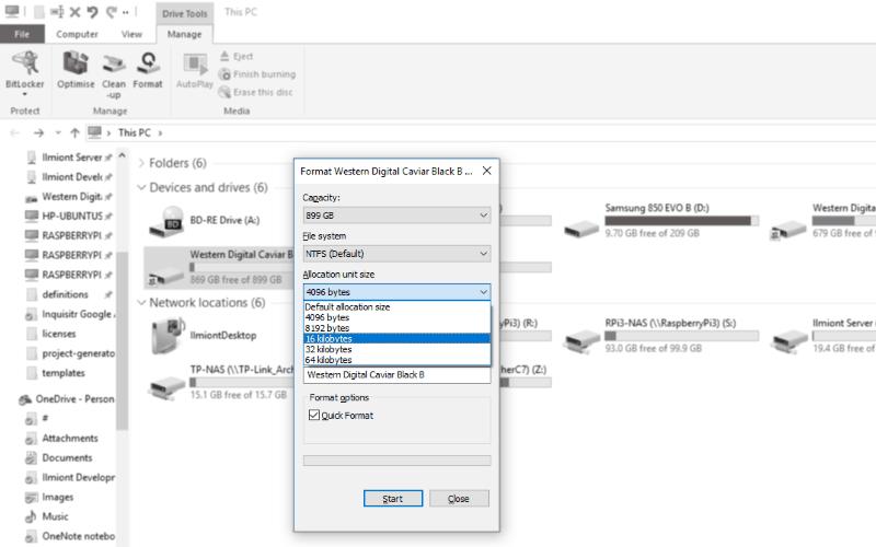 Screenshot of Windows 10 Format allocation unit size screen
