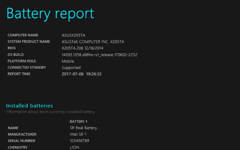Screenshot of Windows 10 battery report
