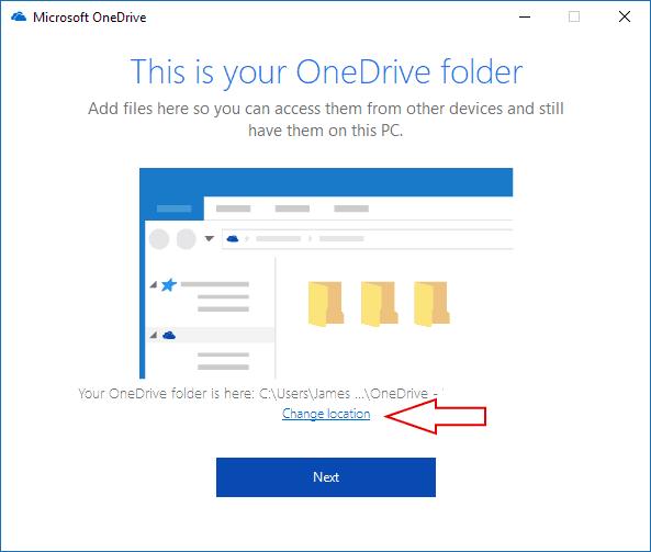Screenshot of OneDrive folder selection screen - www.office.com/setup