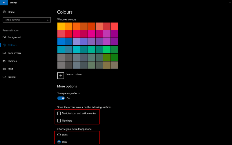 Screenshot of Windows 10 colour accent settings