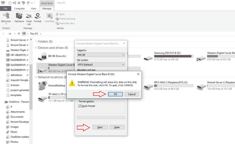 Screenshot of Windows 10 Format warning