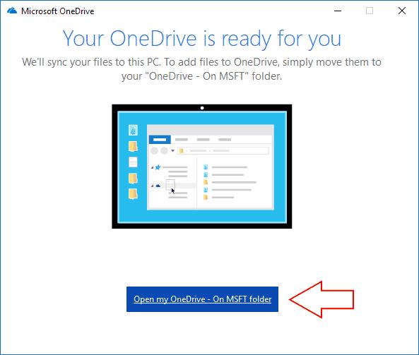 Screenshot of Windows 10 OneDrive sync confirmation screen - www.office.com/setup