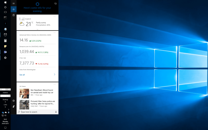 Screenshot of Windows 10 taskbar location
