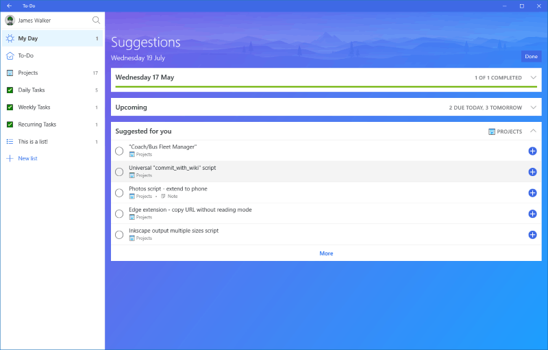 Screenshot of Microsoft To-Do