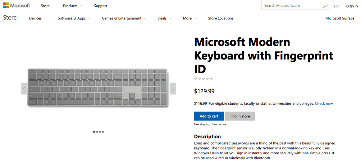 Microsoft now selling its modern keyboard with fingerprint id in the us, canada and china - onmsft. Com - july 3, 2017