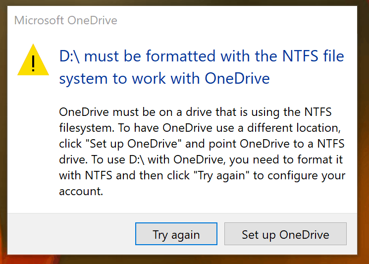 OneDrive NTFS warning