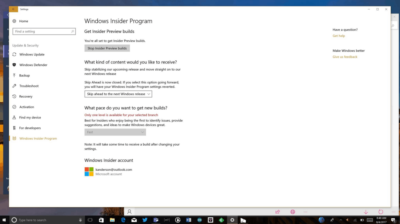 """Windows insiders can no longer """"skip ahead"""" to the next windows 10 release - onmsft. Com - august 4, 2017"""