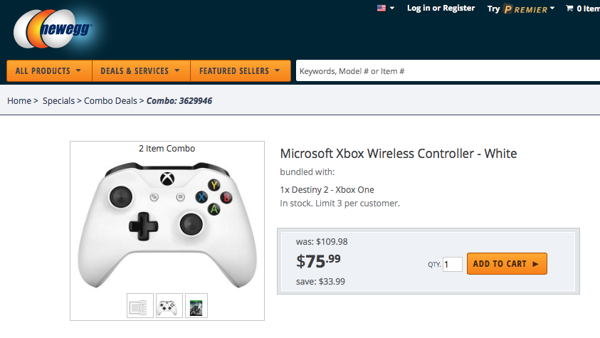 Get an xbox wireless controller and destiny 2 for $75 on newegg today - onmsft. Com - september 7, 2017