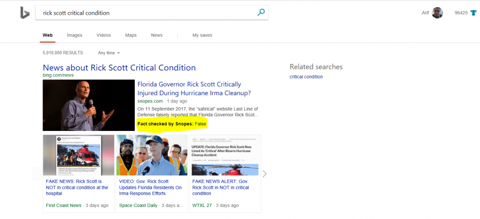 Bing gets a Fact Check label to help users identify fake news OnMSFT.com September 15, 2017