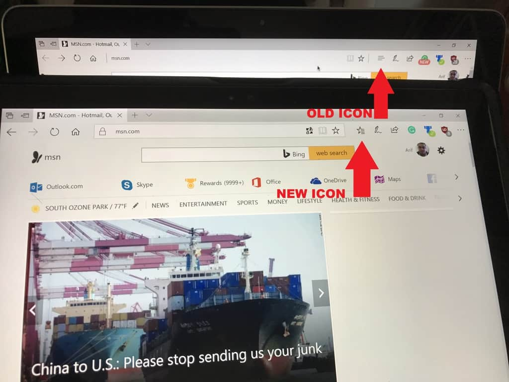 """Microsoft seems to have settled on """"star and bars"""" icon in Microsoft Edge favorites hub OnMSFT.com September 15, 2017"""