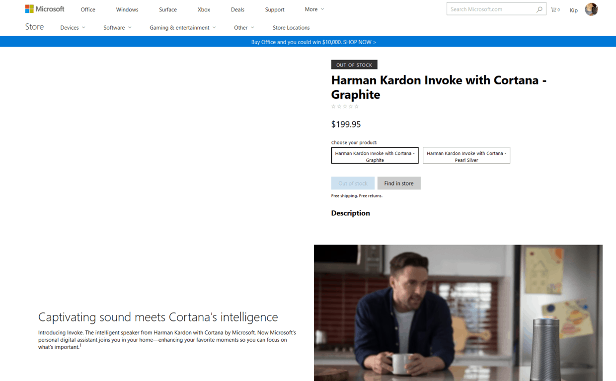 Harman kardon invoke shows up on the microsoft store, with a price even higher than we thought - onmsft. Com - october 5, 2017
