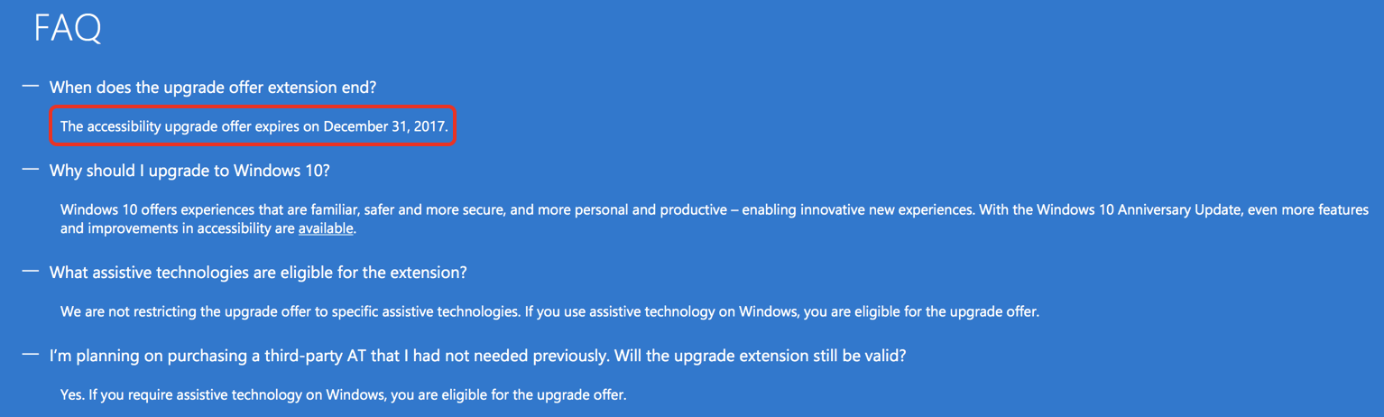 Psa: free windows 10 upgrade for customers using assistive technologies ends on december 31, 2017 - onmsft. Com - october 30, 2017