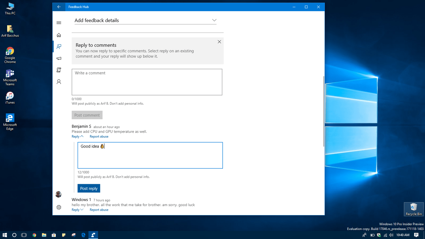 Windows 10 Feedback Hub picks up comment reply feature OnMSFT.com December 12, 2017