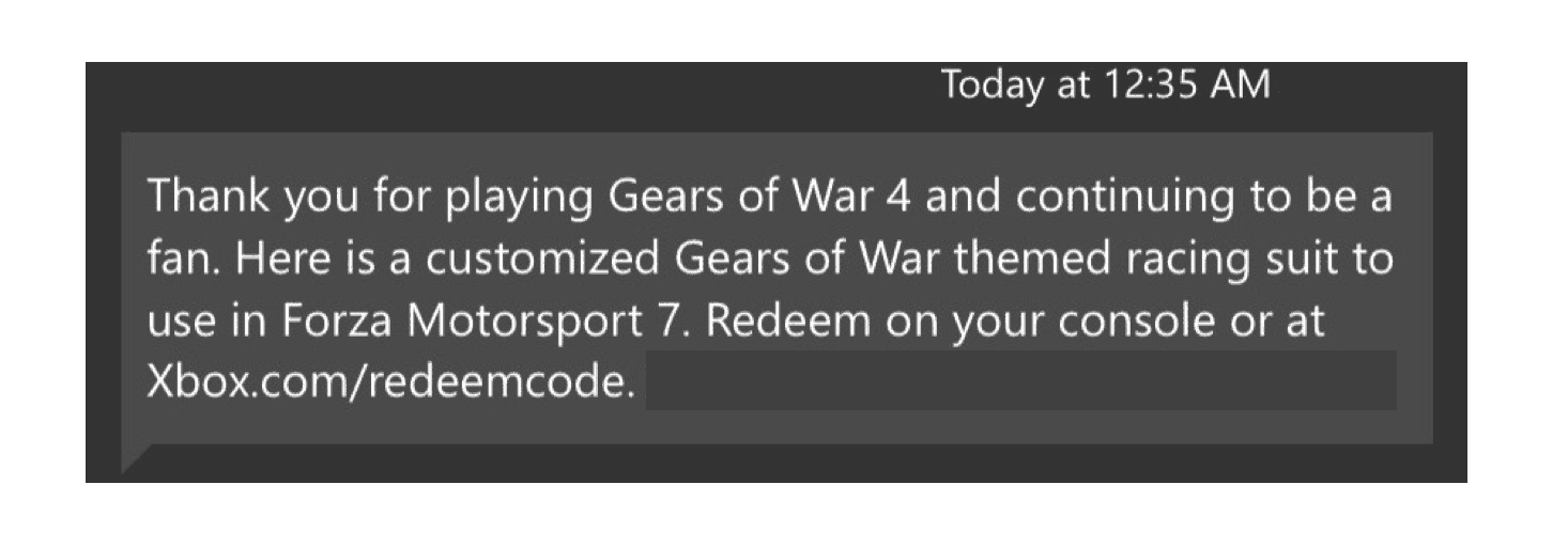 Microsoft rewarding gears of war 4 players with free forza 7 racing suit - onmsft. Com - december 7, 2017