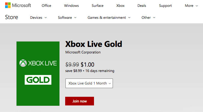 Get one month of xbox live gold or xbox games pass for just $1 for a limited time - onmsft. Com - december 20, 2017