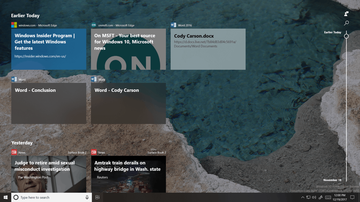 Hands on with timeline and more in windows 10 build 17063 - onmsft. Com - december 19, 2017