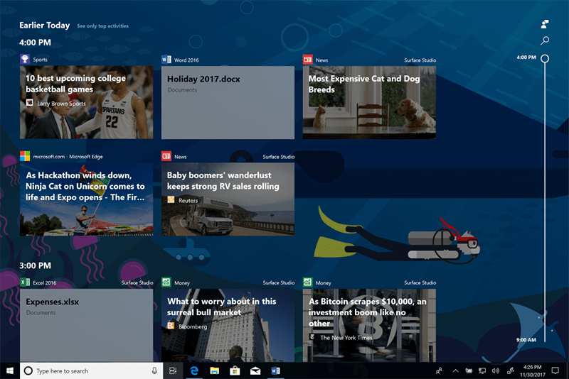 Microsoft Adds Timeline To Windows 10 Insider Build