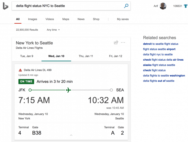 Bing adds flight status info, improvements to movies and sports results - onmsft. Com - january 10, 2018