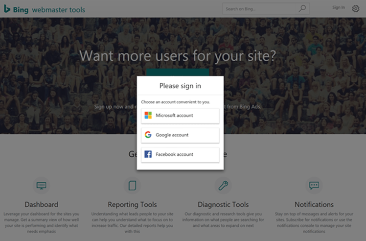 Users of bing's webmaster tools can now login with their accounts on google and facebook - onmsft. Com - february 10, 2018