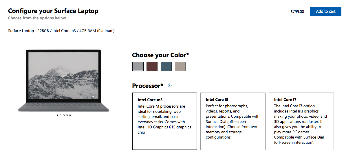 Microsoft starts selling a $799 surface laptop with an intel core m3 processor - onmsft. Com - february 2, 2018