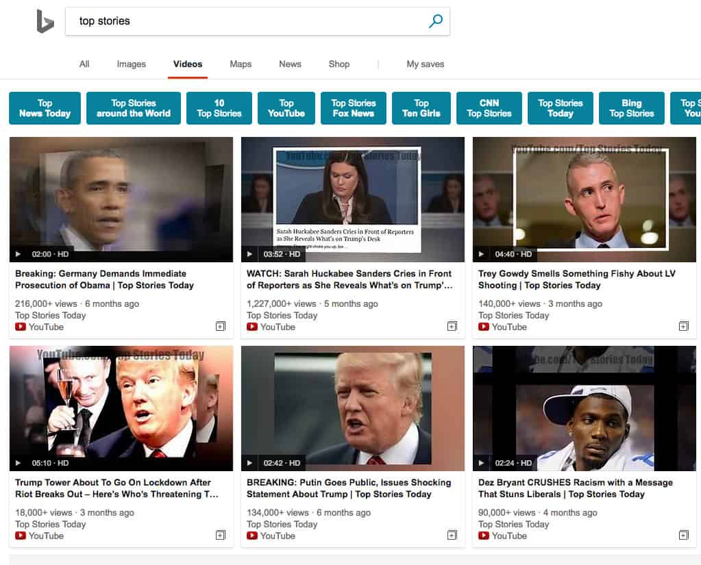 """Bing video search results have been filled with questionable """"fake news"""" videos - onmsft. Com - february 1, 2018"""
