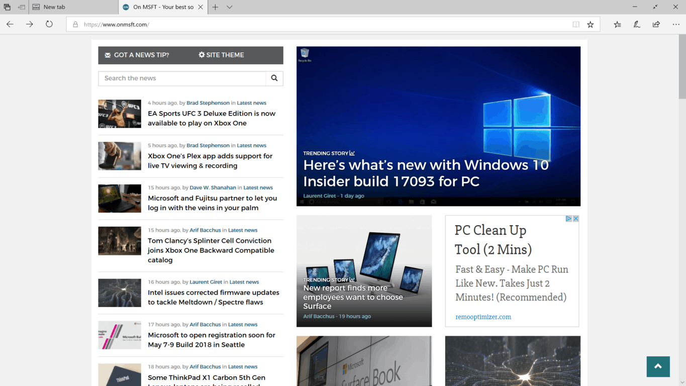 Hands on with Windows 10 build 17093 (video) OnMSFT.com February 9, 2018