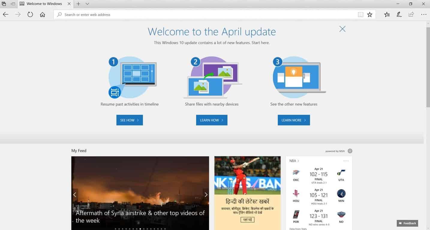 Microsoft Edge Windows 10 April update