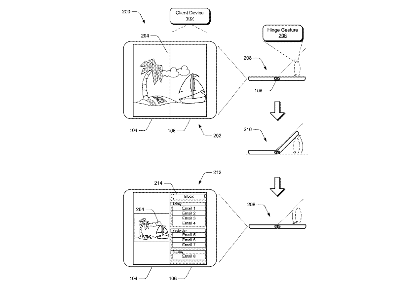 """New """"Surface Phone"""" patents reveal hinge gestures, image-correcting layer for the curved displays OnMSFT.com April 26, 2018"""