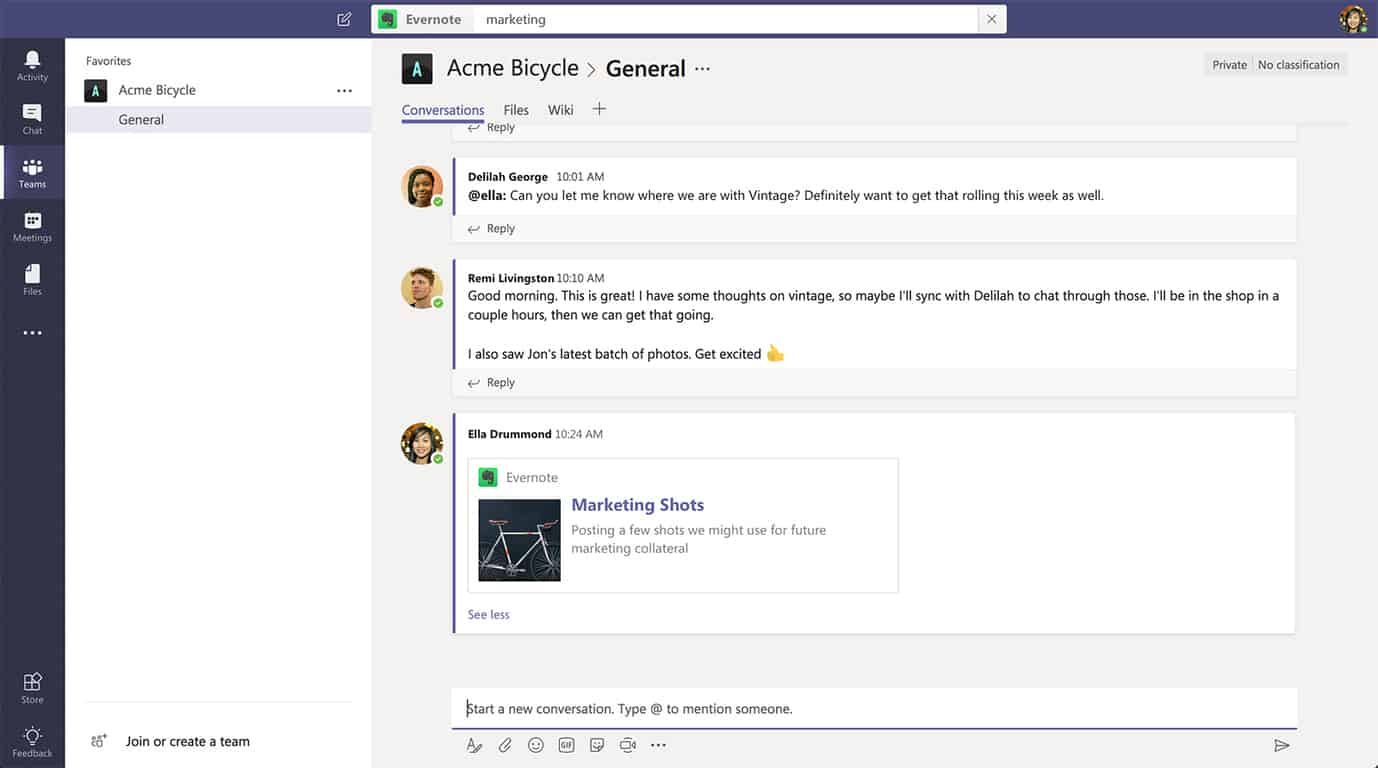 Evernote integration now available in microsoft teams - onmsft. Com - june 19, 2018
