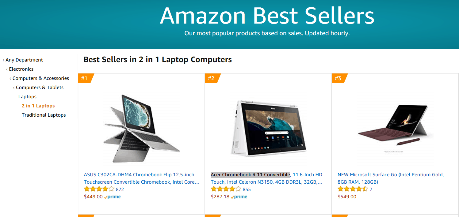 The $549 surface go is #1 on amazon's list of new releases in laptop computers - onmsft. Com - august 8, 2018