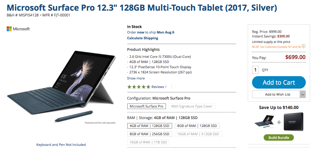 Get the base core i5 surface pro for just $699 ($300 off) today - onmsft. Com - august 3, 2018