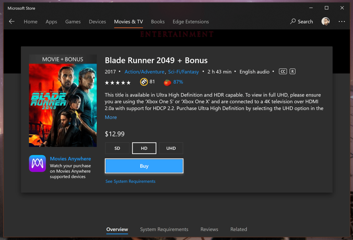 The microsoft store starts highlighting movies that support disney's movies anywhere - onmsft. Com - august 7, 2018