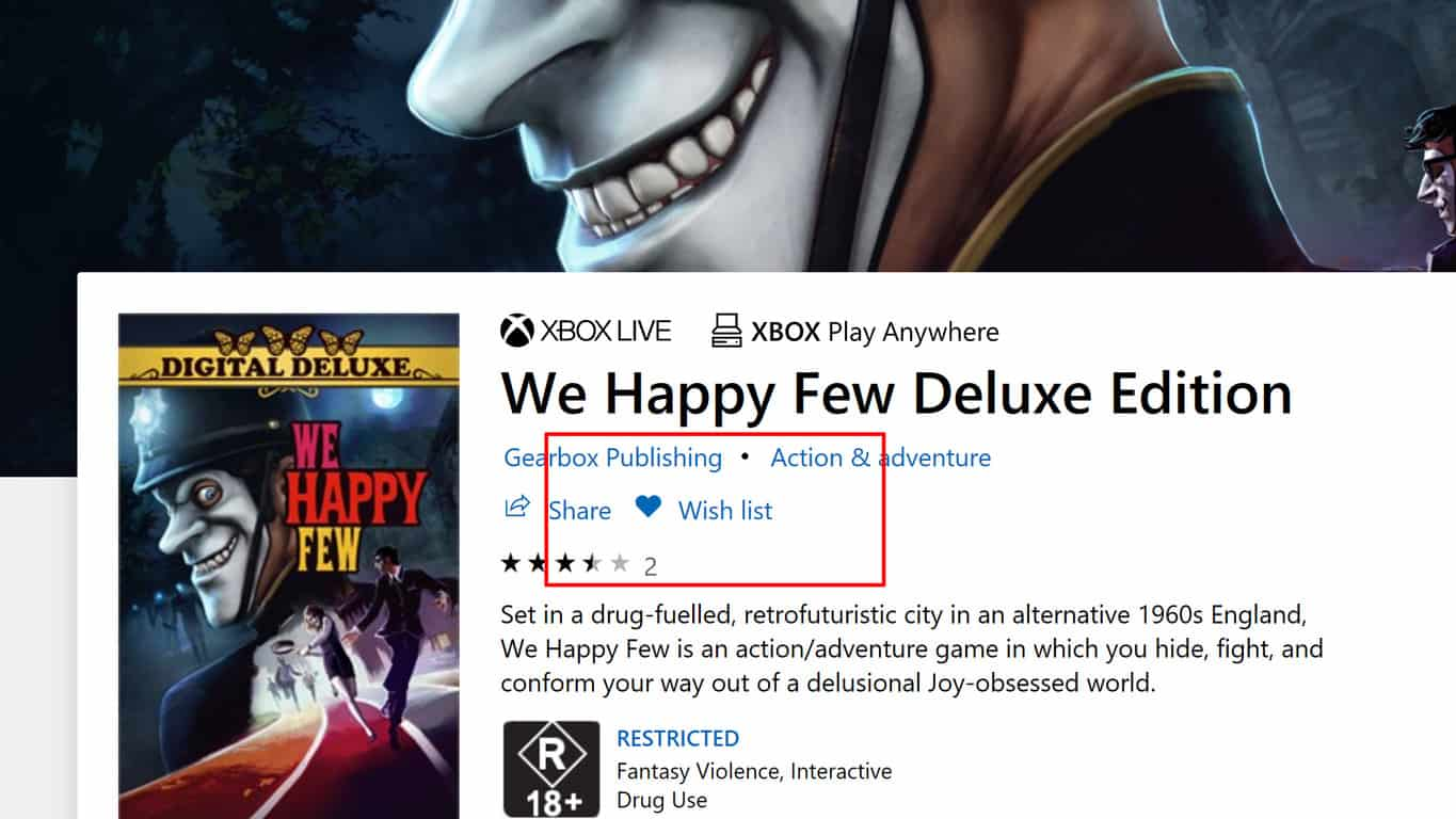 Wish list feature on Windows 10 Microsoft Store