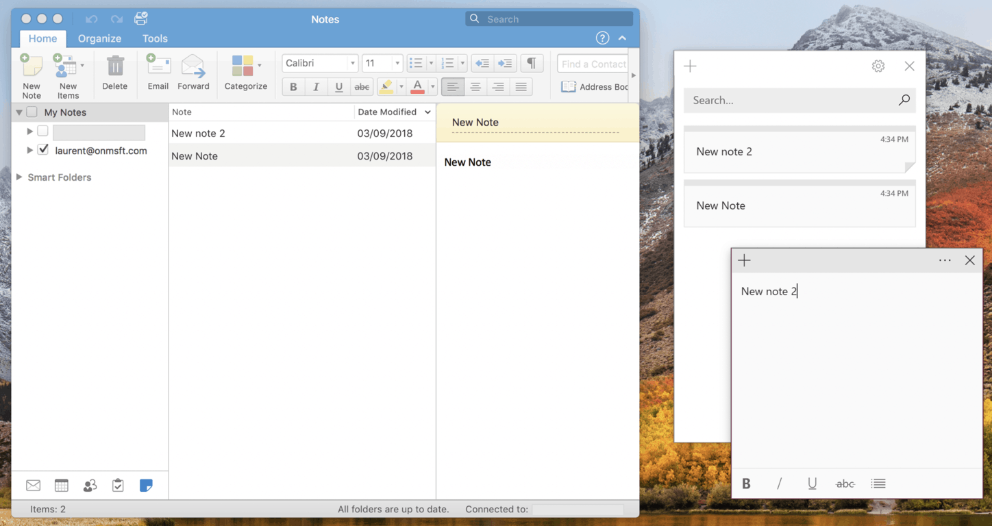 Sticky Notes is set to become a modern client for Outlook Notes OnMSFT.com September 3, 2018