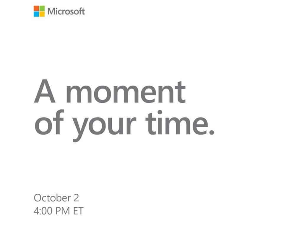 Microsoft sends outs press invites for october 2 event in new york city - onmsft. Com - september 7, 2018