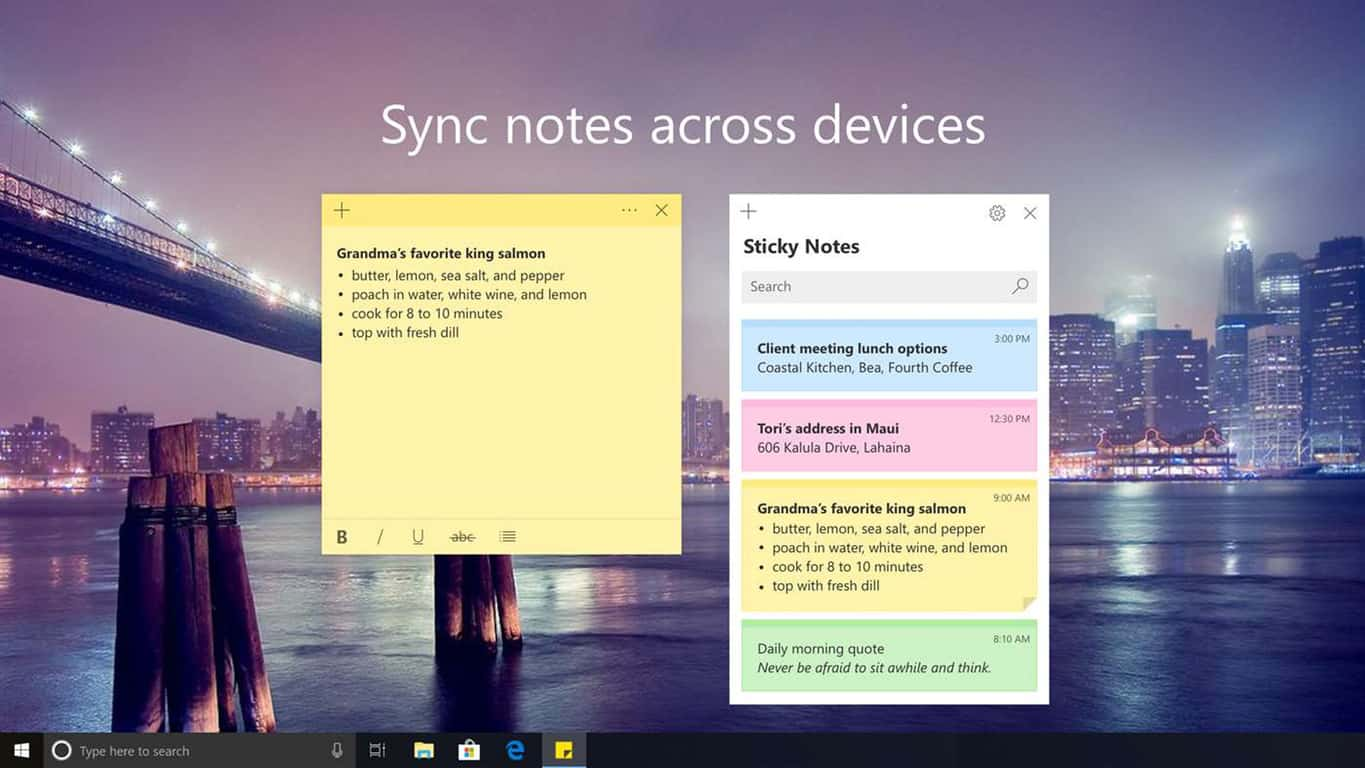 Windows 10 Sticky Notes