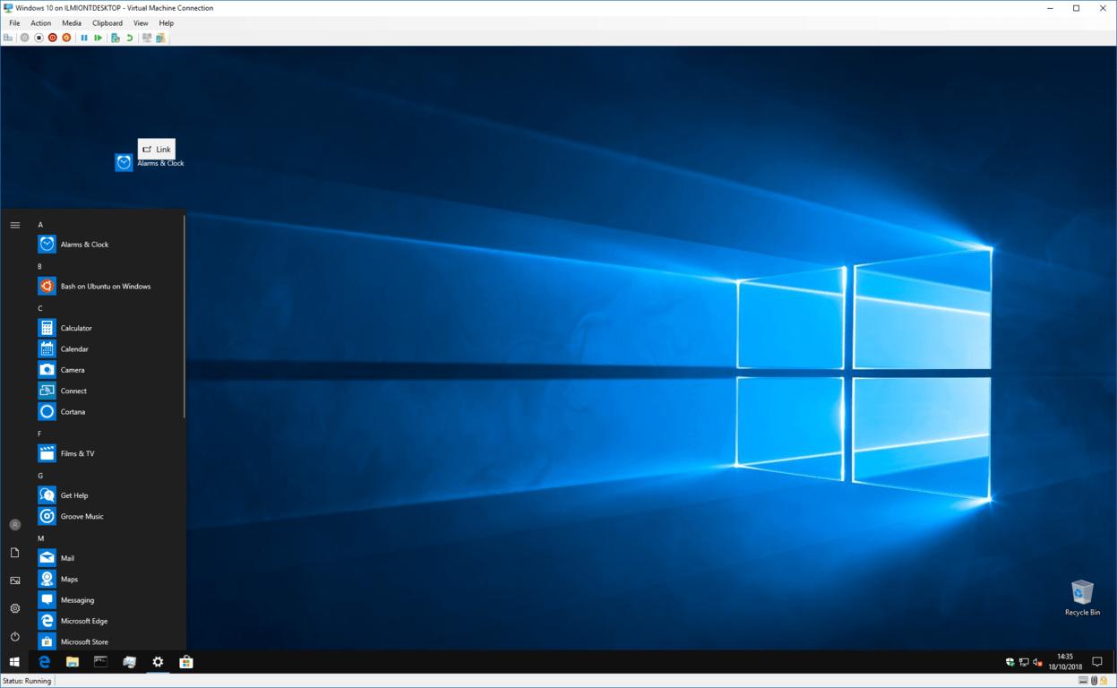 Screenshot of creating a desktop shortcut