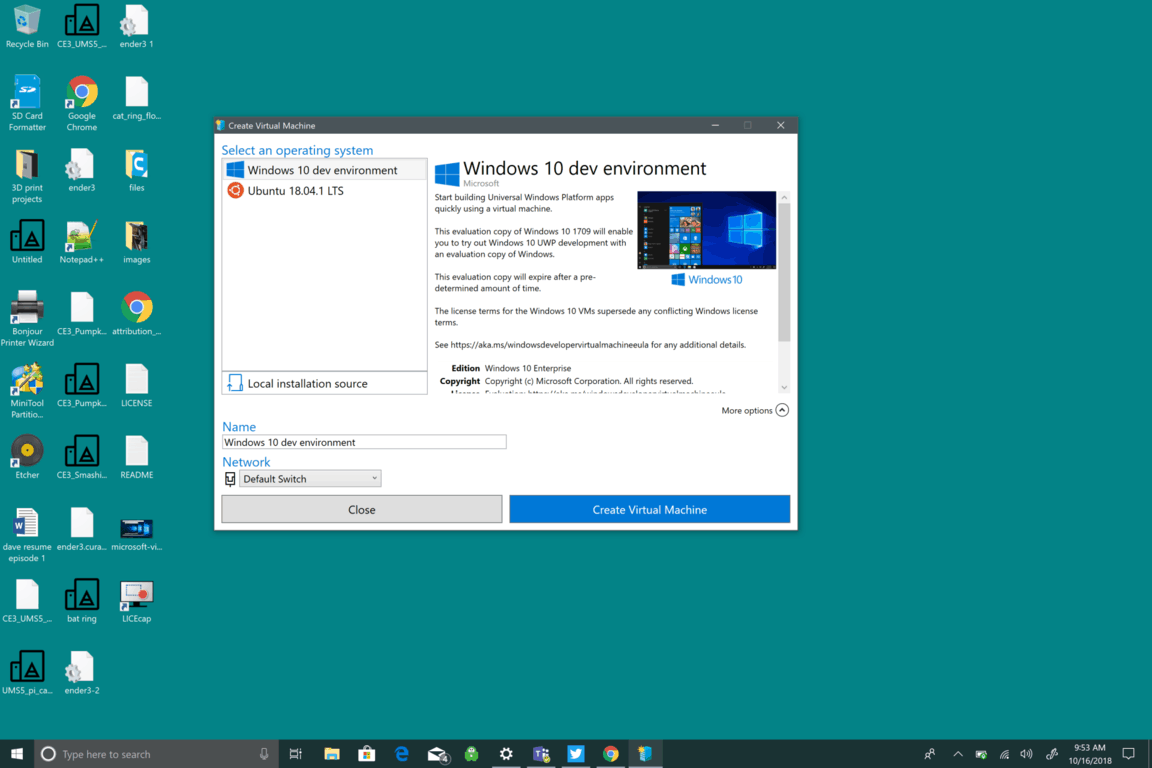 Windows 10, Microsoft, Hyper-V Quick Create