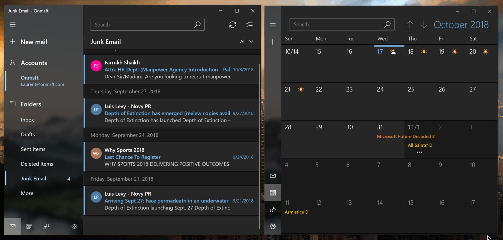 Windows 10 Mail and Calendar apps to get a slightly lighter dark mode OnMSFT.com October 17, 2018