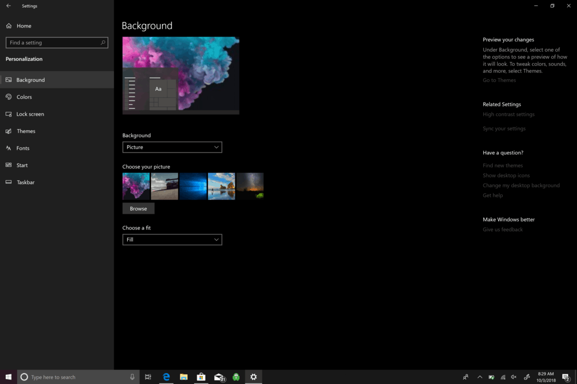 Microsoft, Windows 10, Settings, Background
