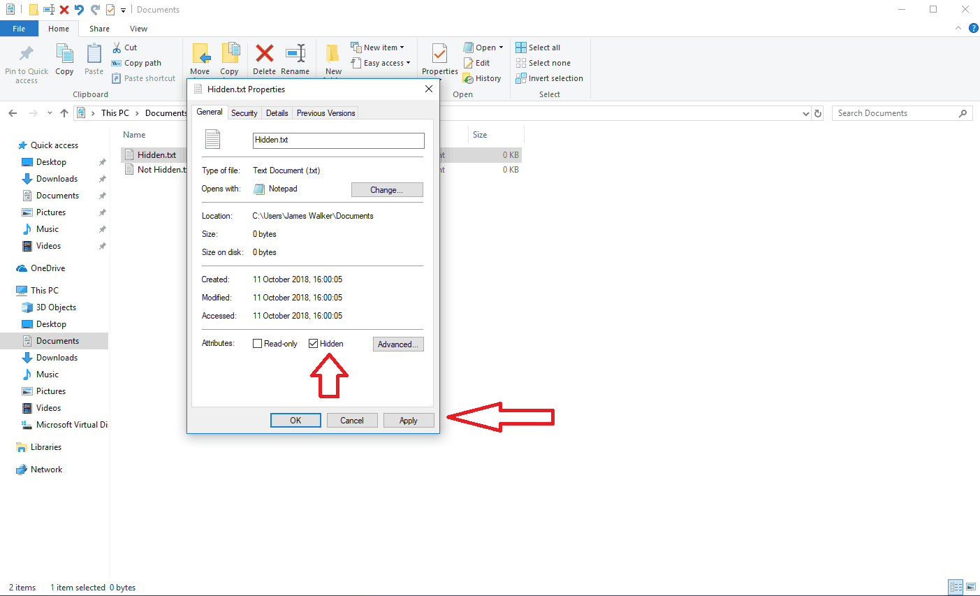 Screenshot of hiding a file