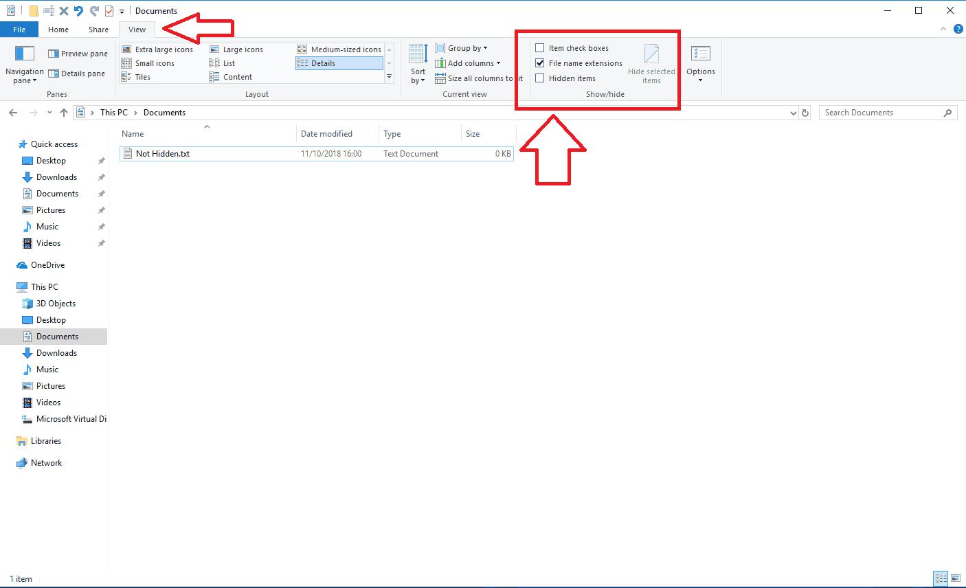 Enabling hidden files
