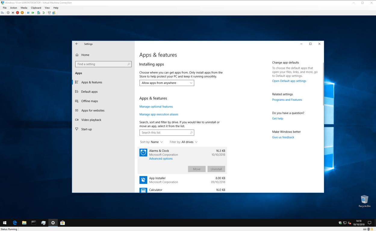 Screenshot of uninstalling Windows 10 apps