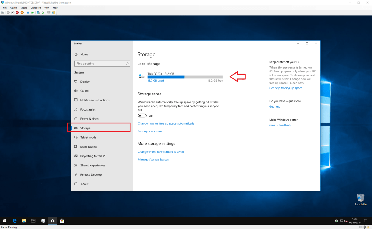 Screenshot of Windows 10 Storage Sense settings