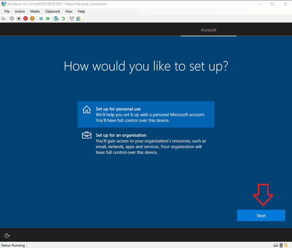 Screenshot of Windows 10 setup