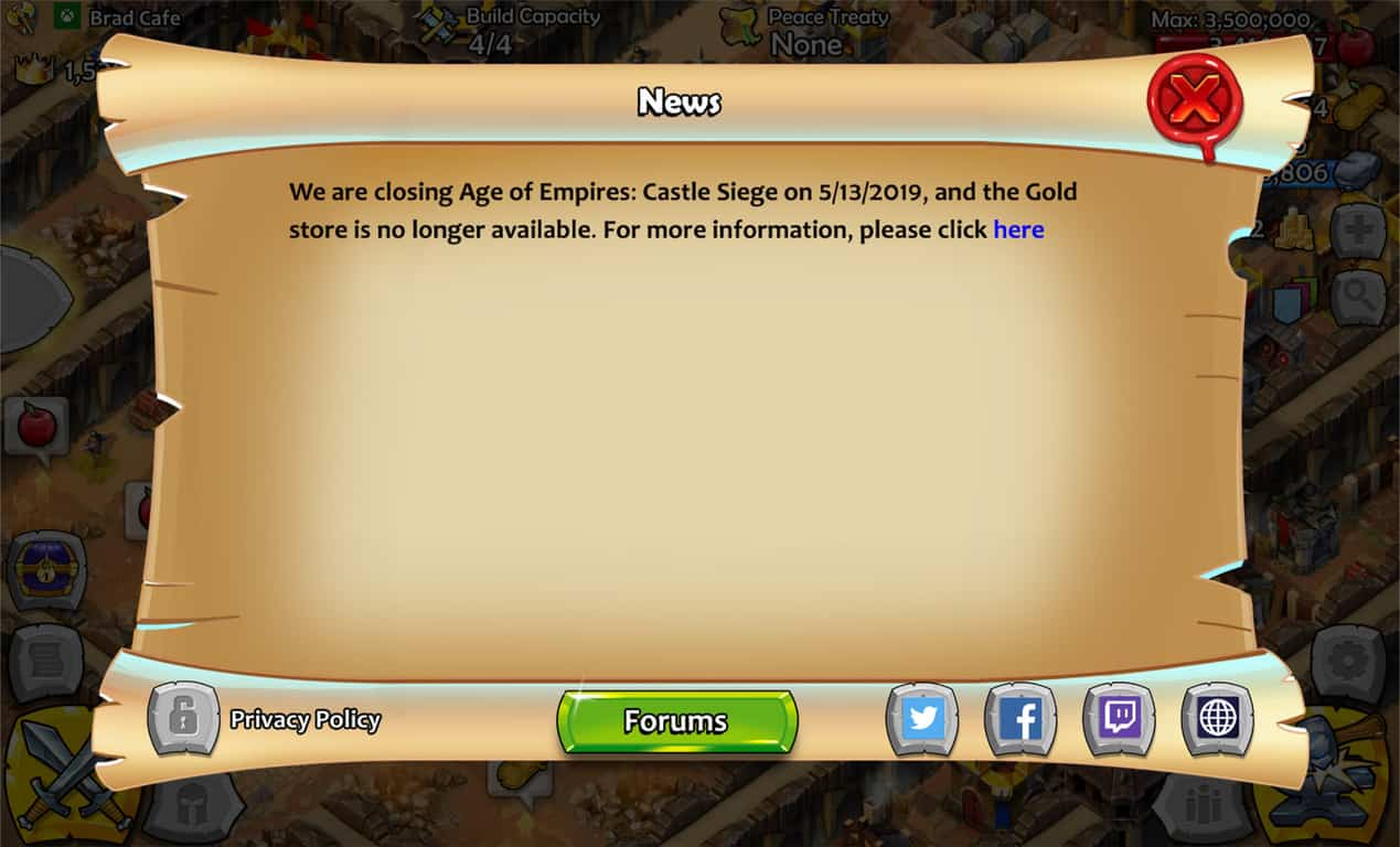 Age of Empires Castle Siege notification