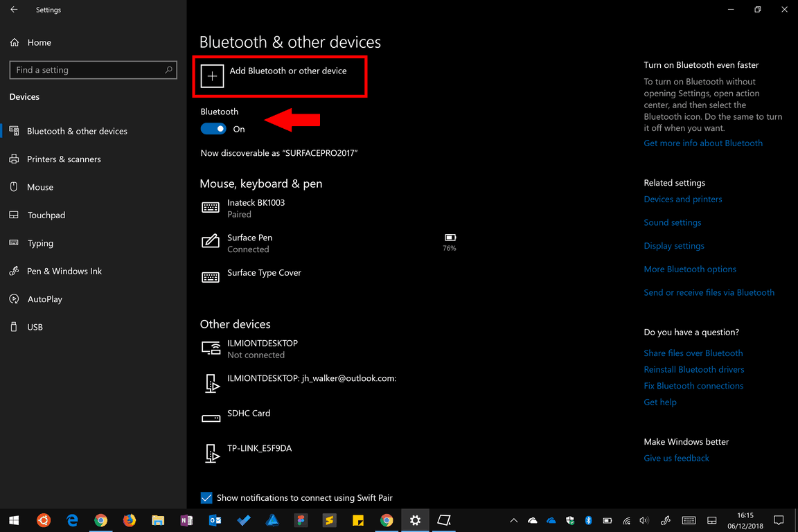 Windows 10 Pen settings