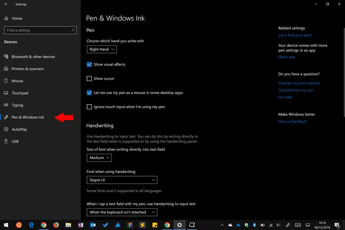 Windows 10 pen settings